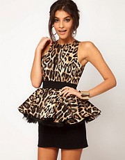 Miss Francesca Couture Leopard Peplum Tutu Dress