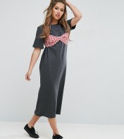 ASOS Petite ASOS PETITE Maxi T-Shirt Dress with Bra Top - Grey 2018