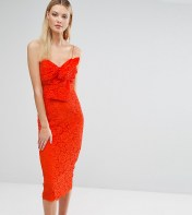ASOS Tall ASOS TALL Lace Cami Bow Front Midi Pencil Dress - Orange 2018