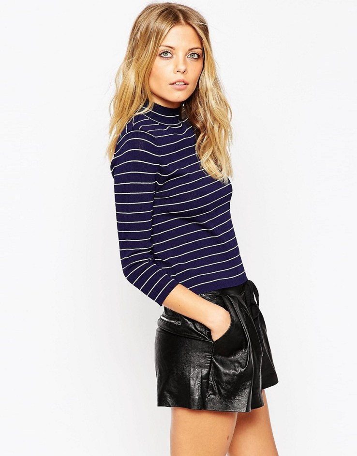 ASOS Baby Rib Sweater With Turtleneck In Stripe in Structured Knit