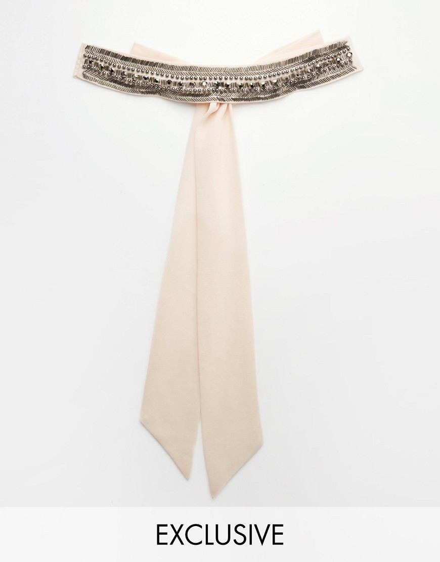 Image 1 ofTFNC WEDDING Chiffon Occasion Belt with Embellishment in Nude Pink