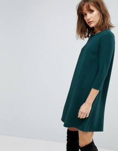 Stradivarius 3/4 Sleeve Basic Dress - Green
