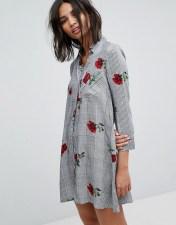 Stradivarius Stradivarius Floral Mini Shirt Dress - Grey 2018
