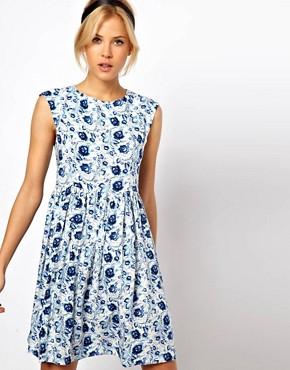 Image 1 ofASOS Smock Dress in Blue Floral