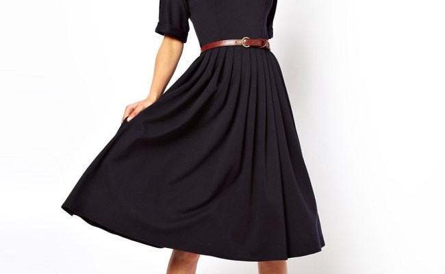 Asos Asos Midi Dress With Full Skirt And Belt At Asos