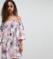 White Cove Petite White Cove Petite Off Shoulder All Over Printed Smock Dress - Multi 2018