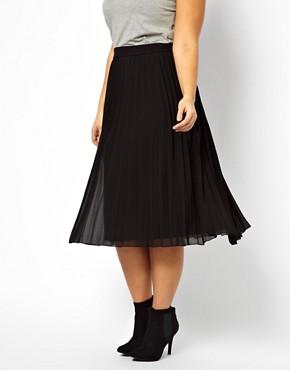 Image 4 ofASOS CURVE Midi Skirt With Pleats