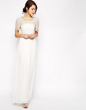 Image 1 ofASOS Lattice Embellished Flutter Sleeve Maxi Dress