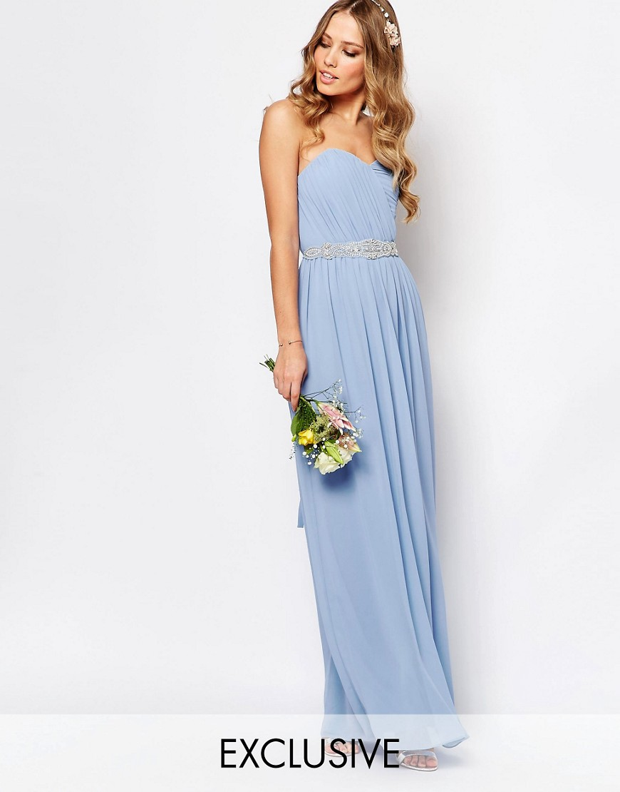 Image 1 ofTFNC WEDDING Bandeau Chiffon Maxi Dress
