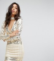 STARLET Starlet Plunge Front Mini Dress with Choker Detail - Gold 2018
