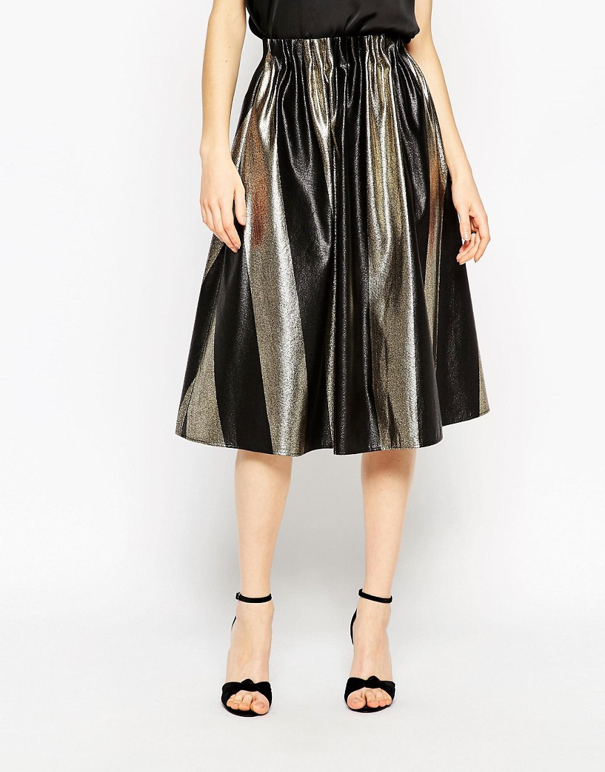 Image 4 of ASOS Midi Skirt In Bold Metallic Stripe