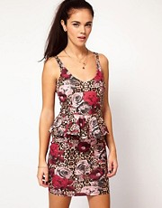 River Island V Neck Peplum Dress