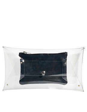 Image 1 of Klear Klutch Large Transparent Clutch Bag with Navy Leather Pouch