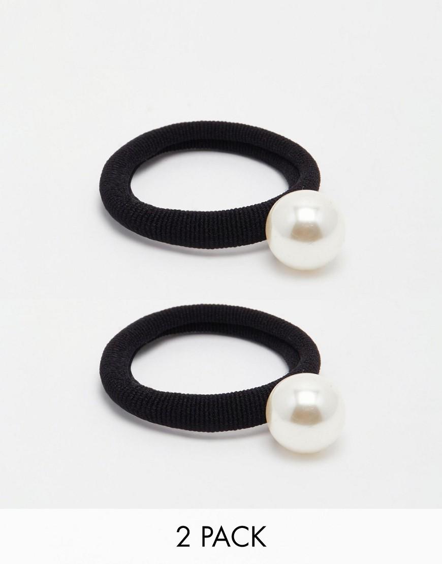 Image 3 ofASOS Pack of 2 Faux Pearl Hair Ties