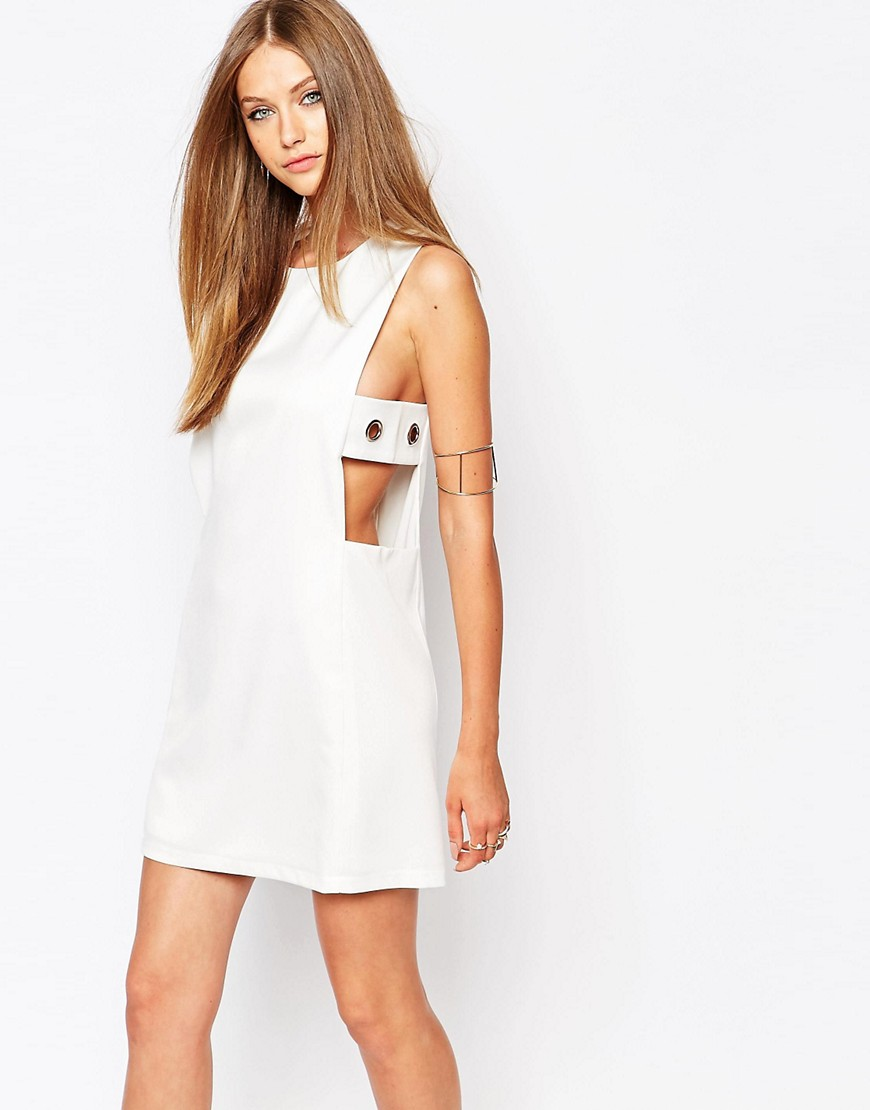 Image 1 ofMissguided Eyelet DetailShift Dress