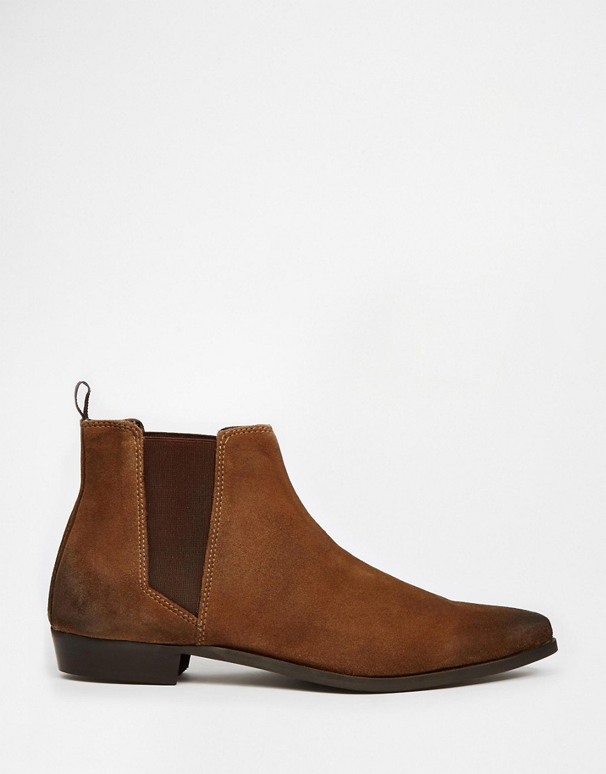Image 2 of ASOS Chelsea Boots in Brown Suede
