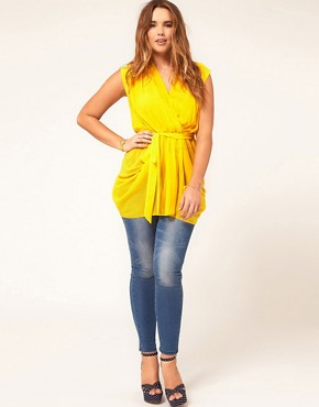 Image 4 of ASOS CURVE Exclusive Belted Wrap Top
