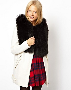 ASOS Short Faux Fur Tabbard Collar