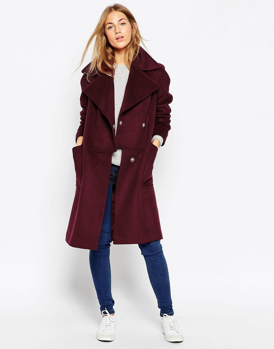 Image 1 of ASOS Coat in Oversized Fit with Paneled Collar