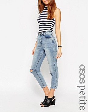 Image 1 ofASOS PETITE Farleigh High Waist Slim Mom Jean in Day Dreamer Vintage Wash with Busted Knees