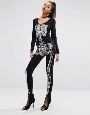 Missguided - Halloween - Overall mit Skelett - Mehrfarbig