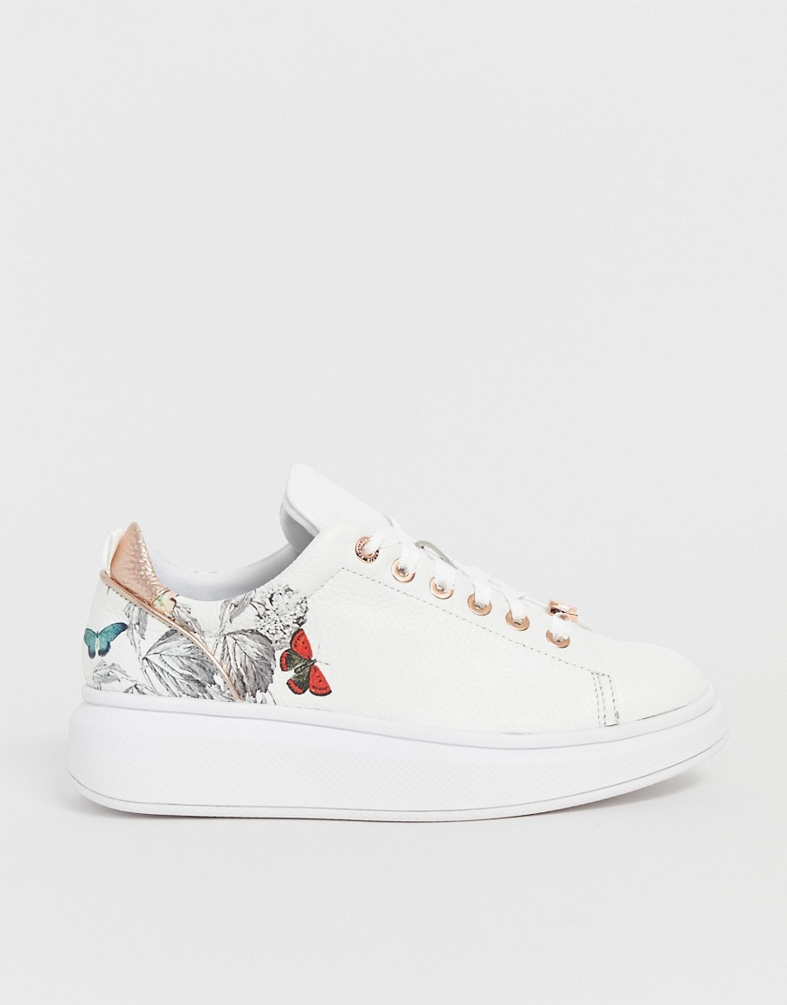 Ted Baker White Leather Floral Chunky Sole Sneakers