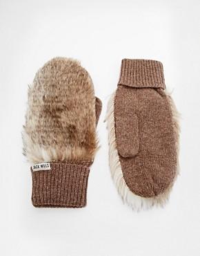 Jack Wills Austwick Faux Fur Mittens