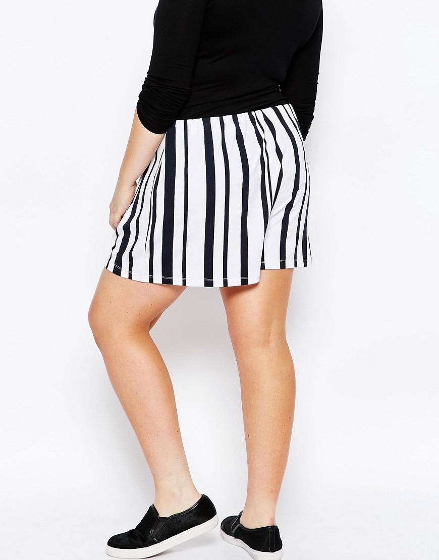 Image 2 ofASOS CURVE Mono Stripe Culottes