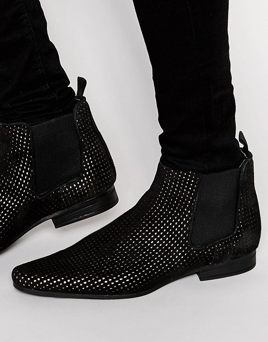Image 1 - ASOS - Bottines Chelsea en daim à perforations - Noir