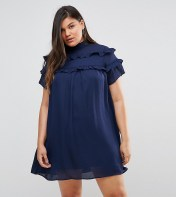 Fashion Union Plus Fashion Union Plus High Neck Dress With Double Frill - Navy 2018