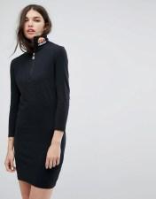 Ellesse Long Sleeve Bodycon Dress With High Neck Logo - Black