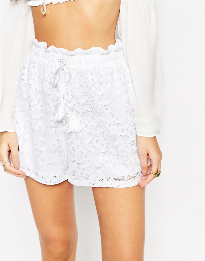 Image 3 ofASOS Paperbag Shorts in lace with Tassle Tie