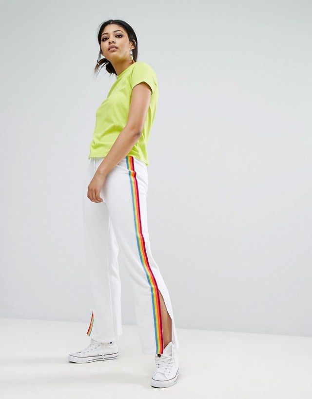 Daisy Street Wide Leg Track Pants With Neon Sports Stripe , $38.0