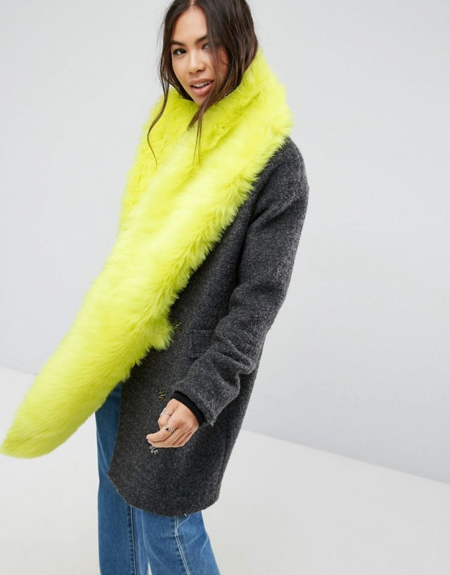 ASOS Faux Fur Long Scarf In Neon Yellow, $35.0