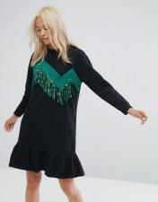 Ziztar Ziztar Sweater Dress With Zigzag Tassles - Black 2018