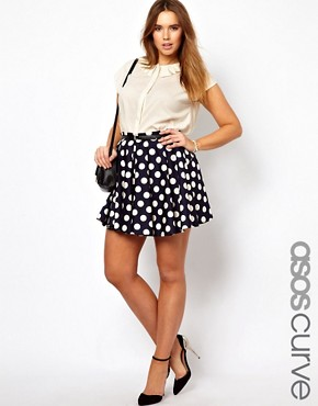 Image 1 of ASOS CURVE Exclusive Skater Skirt In Spot