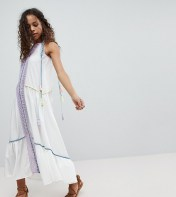 White Cove Petite White Cove Petite Embroidered Mirror Detail Maxi Dress With Tassel Ties - Multi 2018
