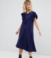 ASOS Petite ASOS PETITE T-Shirt Dress with Frill Detail - Navy 2018