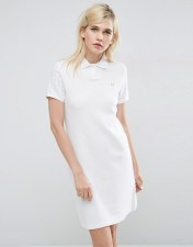 Fred Perry Fred Perry Polo Dress with Gingham Sleeve - White 2018