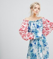 White Cove Petite White Cove Petite Allover Mix Match Floral Offshoulder Mini Dress With Fluted Sleeve Detail - Multi 2018