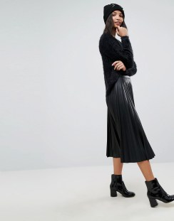 Stradivarius Leather Look Pleat Midi Skirt - Black