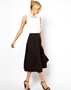 Image 1 of ASOS Midi Skirt with Stitch Waist Detail