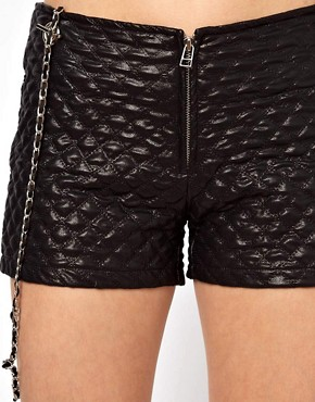 Image 3 ofArrogant Cat London Quilted Shorts with Chain Straps