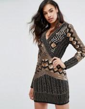 STARLET Starlet Wrap Front Embellished Mini Dress with Long Sleeves - Black 2018