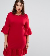 Alice & You Extreme Frill Sleeve And Hem Shift Dress - Red