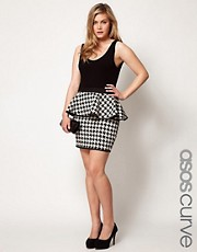 ASOS CURVE Exclusive Peplum Skirt In Dogtooth
