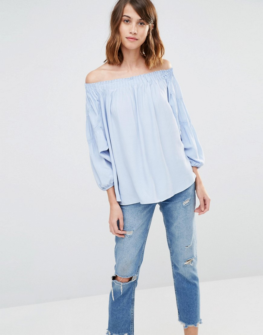 Image 1 of Warehouse Off Shoulder Blouson Sleeve Top