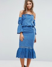 Foxiedox Foxiedox Off The Shoulder Midi Dress With Ruffle Details - Blue 2018