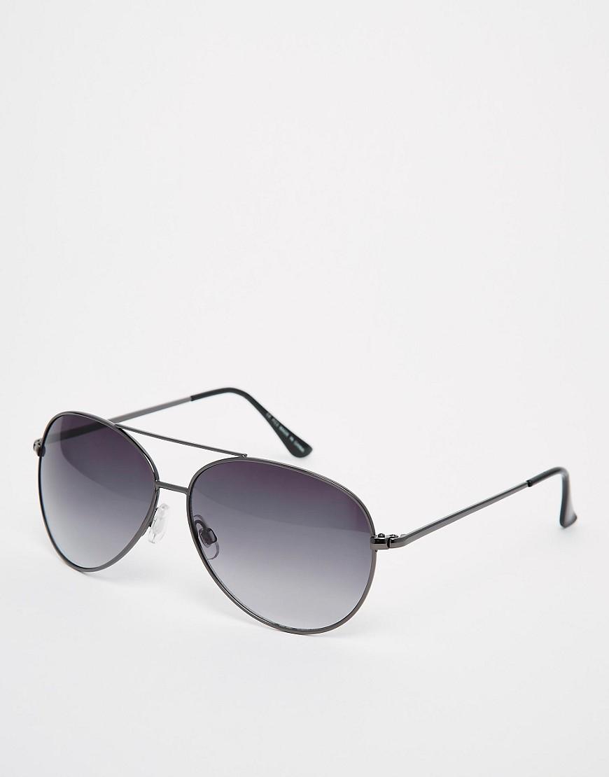 Image 1 ofASOS Silver Aviator Sunglasses
