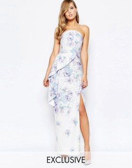 Image 1 of True Violet Bandeau Peplum Maxi Dress With Split In Print